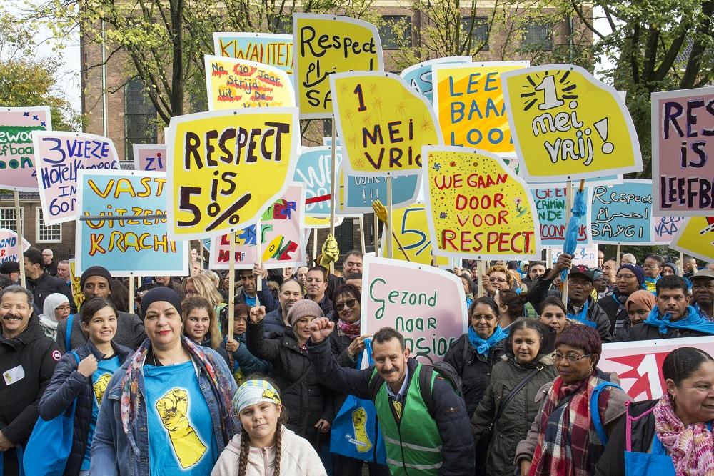 FNV-actie in Amsterdam voor 'cao met respect'